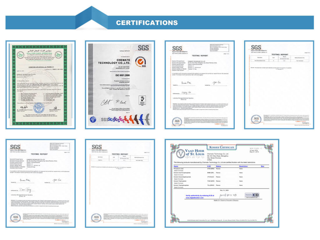 Chemate Group Certificates